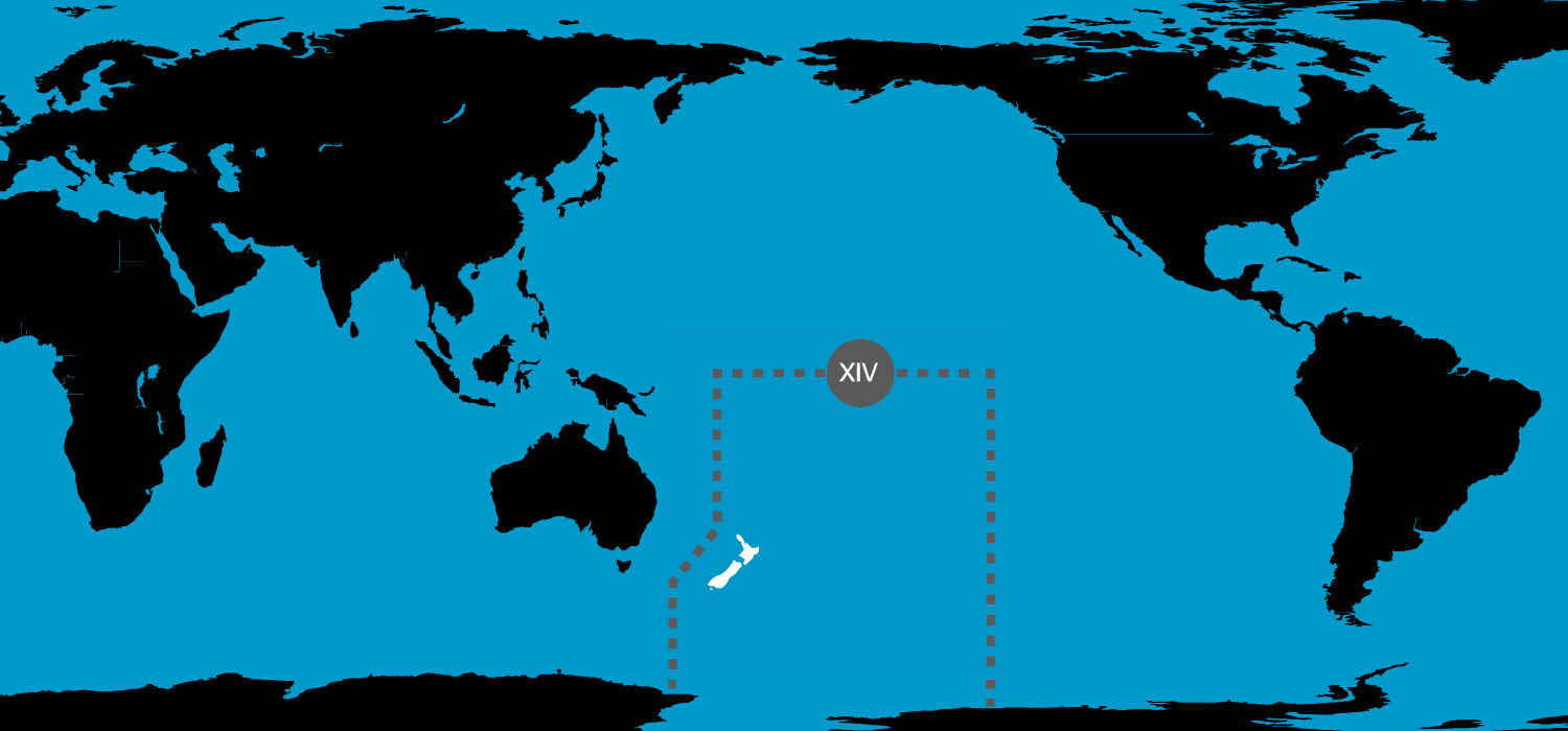 NAVAREA XIV is an area that extends from the the equator to the South Pole and into the Tasman sea.