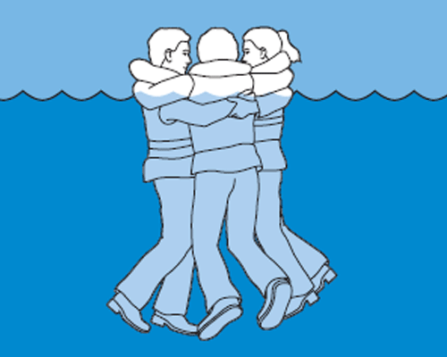 Posture to survive in colde water: huddle posture